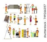 vector illustration of plumber  ... | Shutterstock .eps vector #749266357