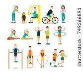 vector illustration of fitness... | Shutterstock .eps vector #749266891