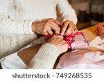 unrecognizable senior couple in ... | Shutterstock . vector #749268535