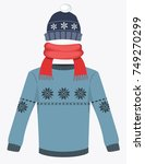 winter hat cap with snowflake...   Shutterstock .eps vector #749270299