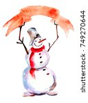 Snowman With Red Poster ...