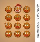 set of gingerbread man faces.... | Shutterstock .eps vector #749273299