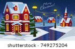 festive cozy decorated house or ... | Shutterstock .eps vector #749275204