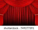 red curtain of stage  3d... | Shutterstock . vector #749277391