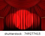 Red Curtain Of Stage With Spot...