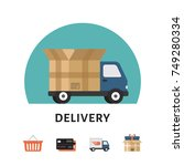 delivery car. online shopping... | Shutterstock .eps vector #749280334