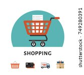 shopping cart. online shopping... | Shutterstock .eps vector #749280391