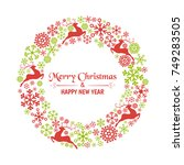 christmas wreath consisting of... | Shutterstock .eps vector #749283505