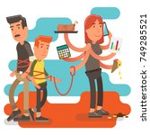 control freak household woman... | Shutterstock .eps vector #749285521
