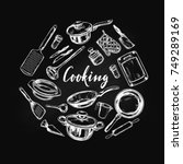 cooking concept. kitchen tools .... | Shutterstock .eps vector #749289169