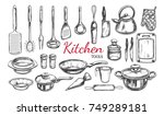 kitchen utensil  tools set.... | Shutterstock .eps vector #749289181