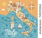 vector stylized map of italy.... | Shutterstock .eps vector #749292061