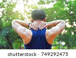 sport injury body part neck pain | Shutterstock . vector #749292475