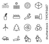 thin line icon set   bio  sun... | Shutterstock .eps vector #749293687