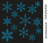 snowflake winter design season...   Shutterstock .eps vector #749296909