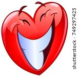 heart emoticon with big toothy... | Shutterstock .eps vector #749297425