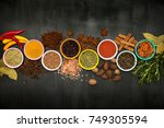 various spices and herbs on... | Shutterstock . vector #749305594