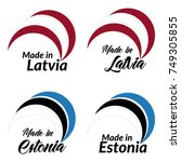 simple logos made in latvia ... | Shutterstock .eps vector #749305855