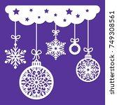 christmas decoration for laser... | Shutterstock .eps vector #749308561