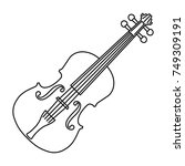 violin of black contour curves... | Shutterstock .eps vector #749309191