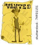 Cartoon Wanted Poster Of A...