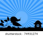 Silhouette Of A Snail Crawling...
