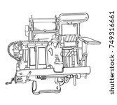 letterpress printing machine | Shutterstock .eps vector #749316661