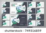 desk calendar 2018 template  ...   Shutterstock .eps vector #749316859