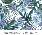 tropical palm leaves. seamless... | Shutterstock . vector #749316871