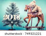new year tree with 2018 date... | Shutterstock . vector #749321221