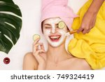 cosmetic procedures  mask for... | Shutterstock . vector #749324419