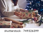 preparing for christmas | Shutterstock . vector #749326399