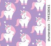 seamless purple unicorn pattern ... | Shutterstock .eps vector #749328061