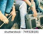 detail of alternative friends...   Shutterstock . vector #749328181