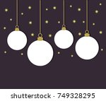 white christmas balls on dark... | Shutterstock .eps vector #749328295