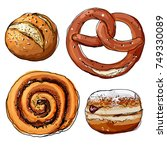 pretzels. cinnamon bun. donut....   Shutterstock .eps vector #749330089