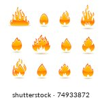 fire icon set | Shutterstock .eps vector #74933872