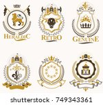 set of vector vintage emblems... | Shutterstock .eps vector #749343361
