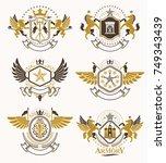 set of vector vintage emblems... | Shutterstock .eps vector #749343439