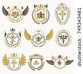 heraldic emblems with wings... | Shutterstock .eps vector #749343481