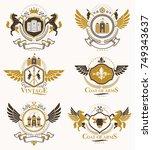 vintage decorative heraldic... | Shutterstock .eps vector #749343637