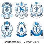 set of luxury heraldic vector... | Shutterstock .eps vector #749349571