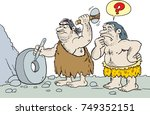 caveman inventing the wheel | Shutterstock .eps vector #749352151
