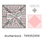 vector wedding card laser cut... | Shutterstock .eps vector #749352454