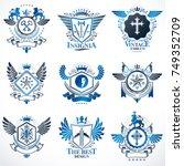 collection of vector heraldic... | Shutterstock .eps vector #749352709