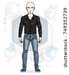 confident handsome hairless... | Shutterstock .eps vector #749352739