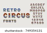 doodle retro circus fonts and... | Shutterstock .eps vector #749354131