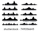 set of black and white mountain ... | Shutterstock .eps vector #749356645