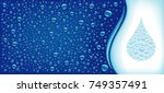 many water drops on blue... | Shutterstock .eps vector #749357491