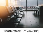 empty airport terminal waiting... | Shutterstock . vector #749360104